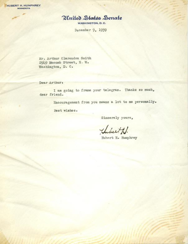 Autograph - 04-062 Hubert Humphrey Typed Letter Signed, on