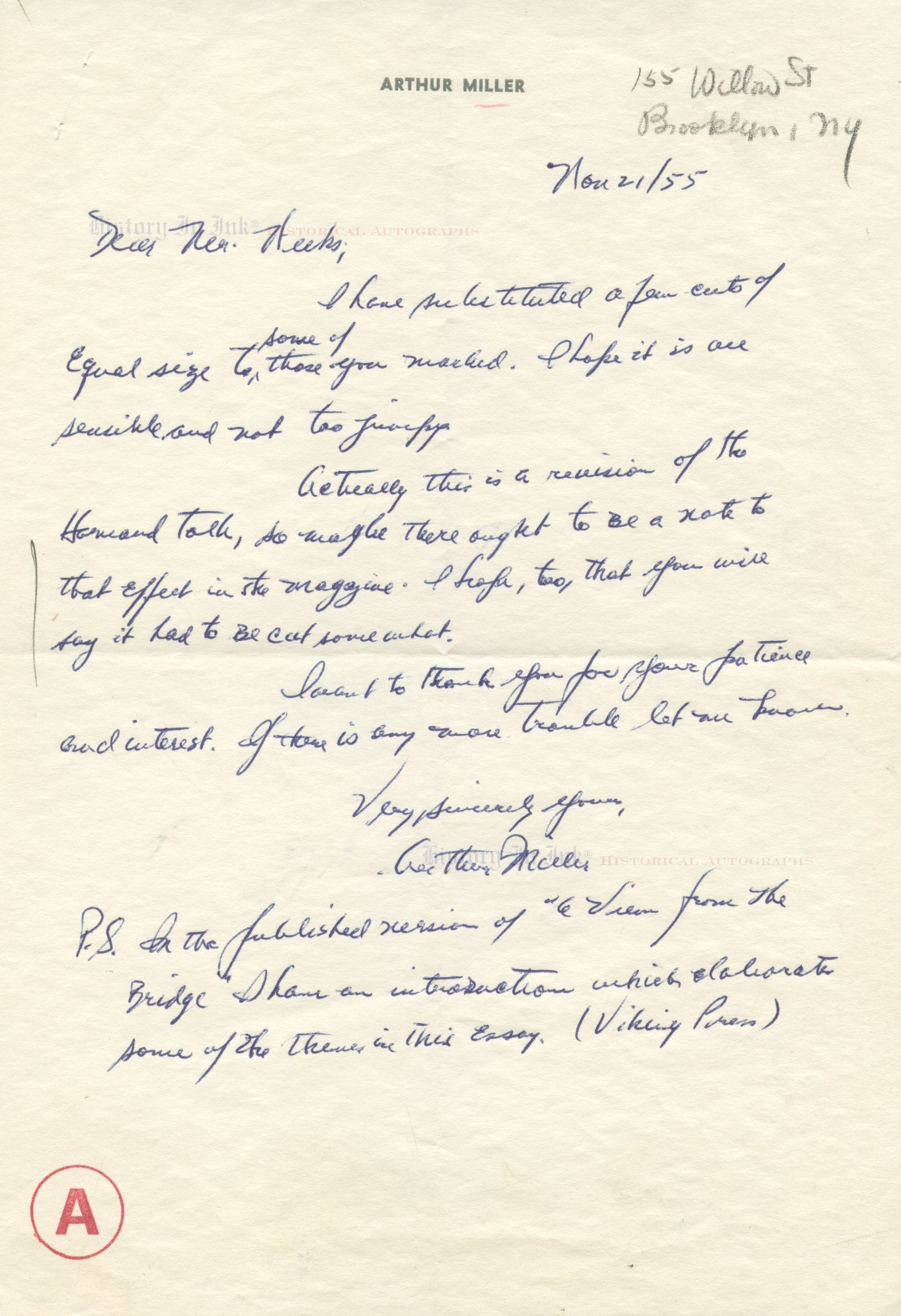 autograph handwritten letter by playwright arthur autograph 1112013 handwritten letter by playwright arthur miller 11 21 1955