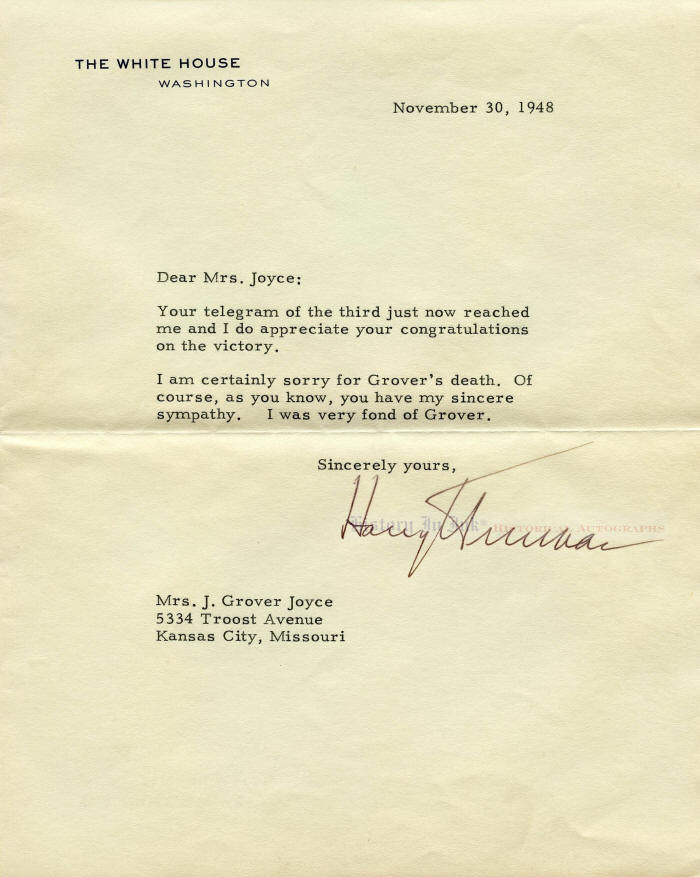 Autograph 1223801 typed white house letter signed by president autograph 1223801 typed white house letter signed by president harry s truman sending thanks for congratulations on his 1948 election victory altavistaventures Choice Image