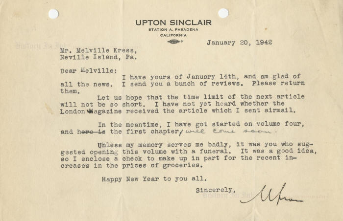 Upton Sinclair Autograph Typed Letter Signed Relating To Wide Is