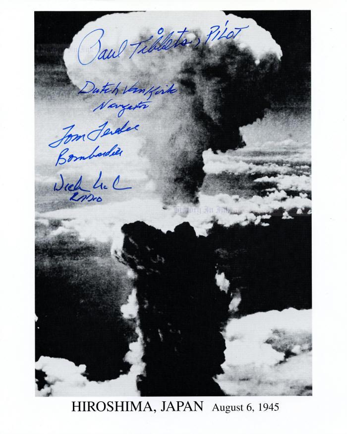 Enola Gay Autographs - 1531606 - Photograph of the Hiroshima mushroom cloud  signed by four Enola Gay crew members