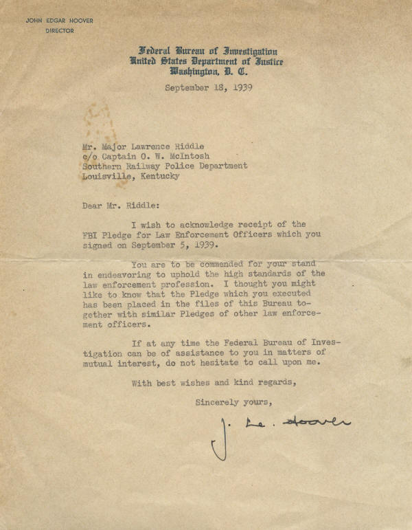 autograph 702207 vintage typed letter signed by fbi