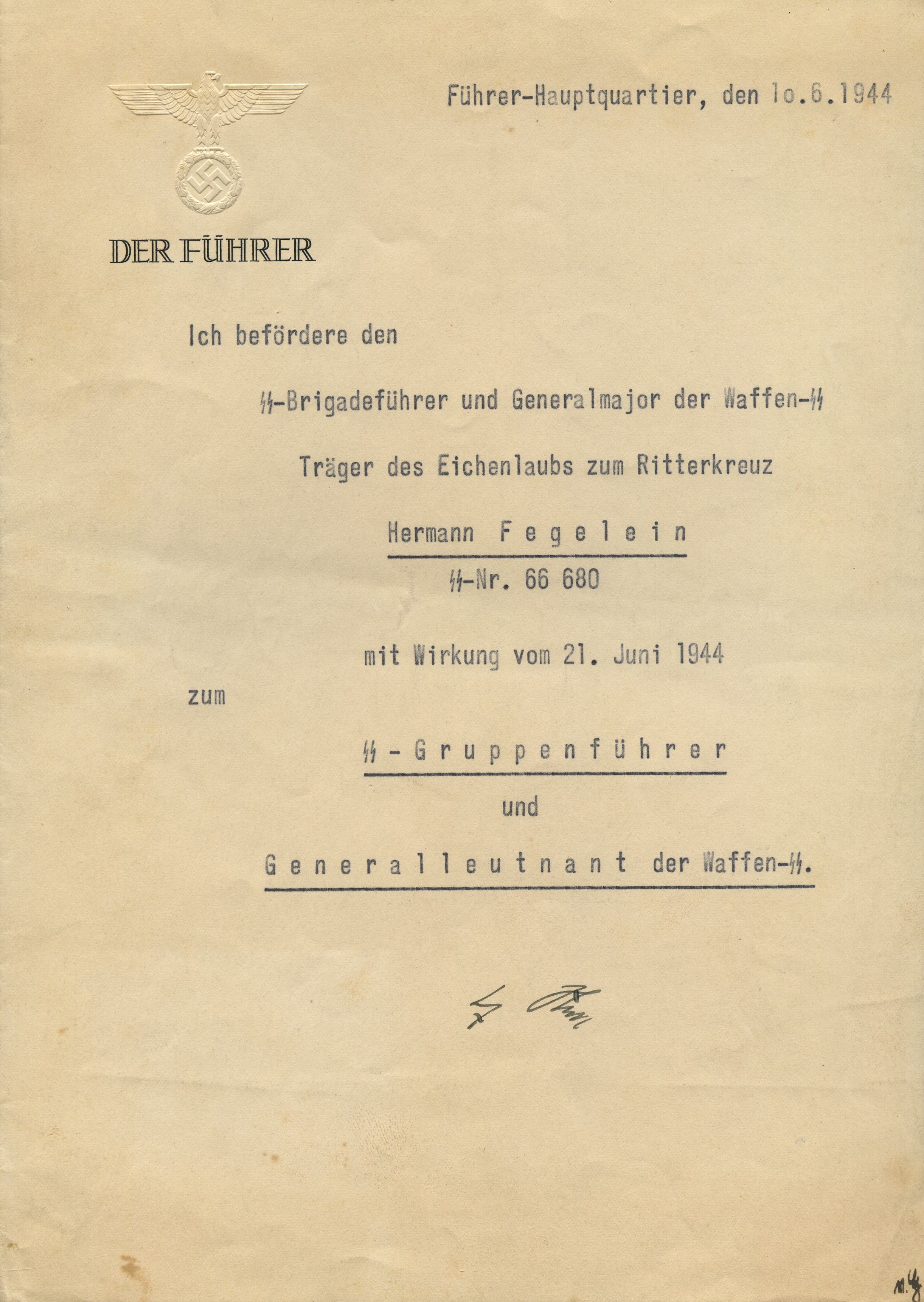 Hitler's papers with signature and stamp